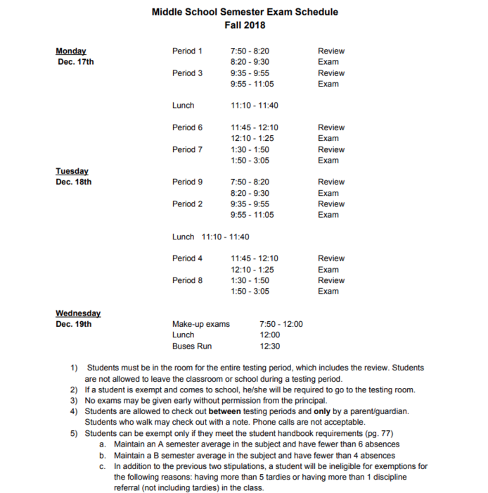 Semster Test Schedule