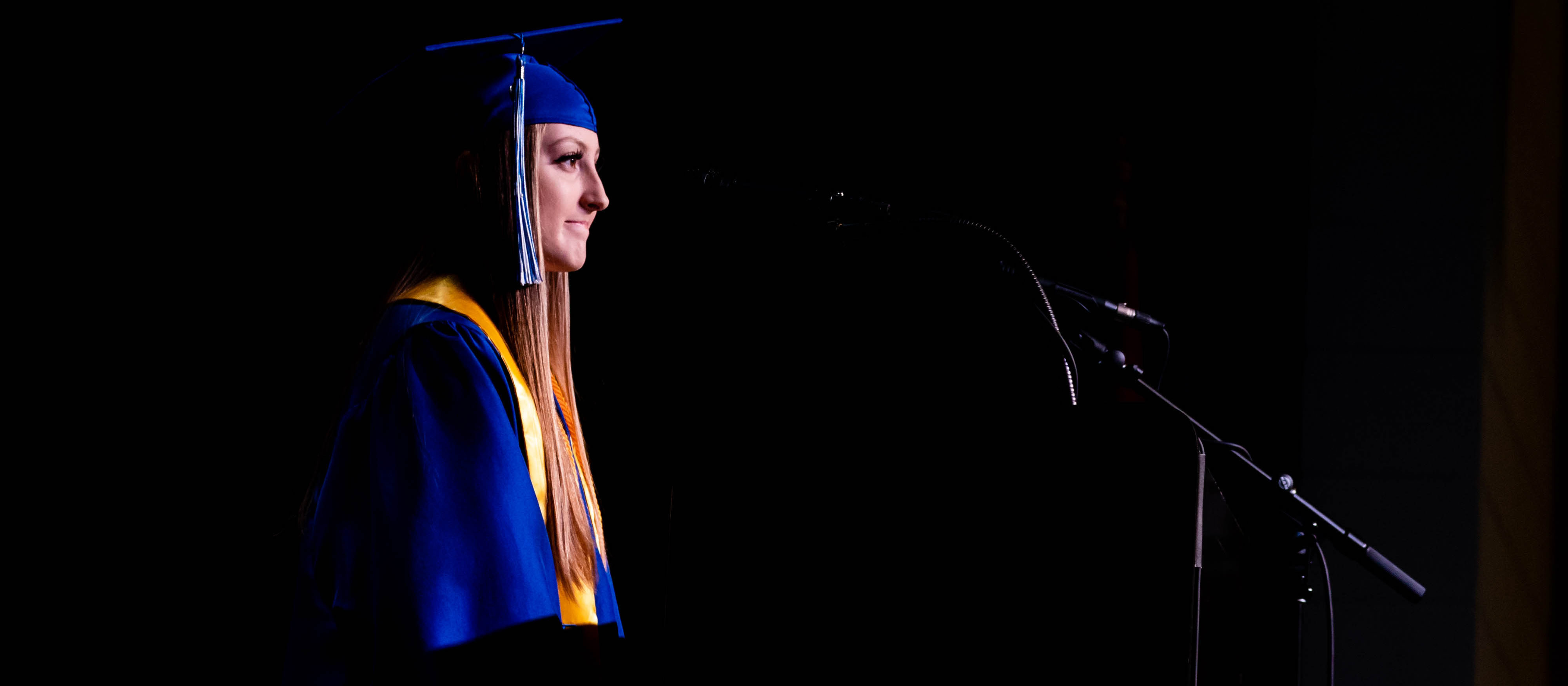 Vignette photo of a graduate speaking at Bald Knob 2020 graduation