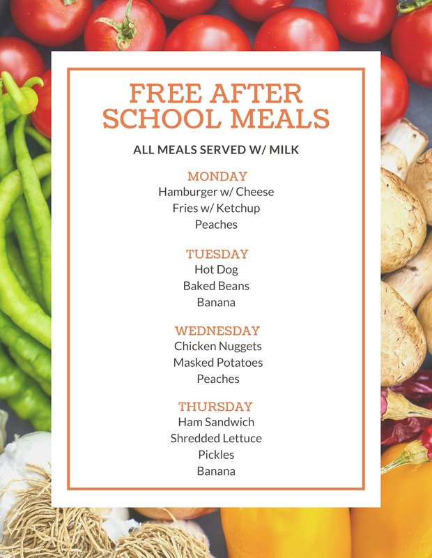 Free After School Meal October 5-9
